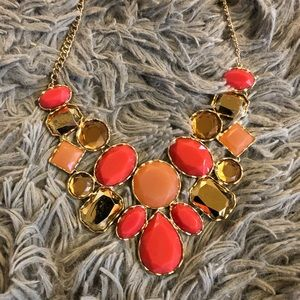 Coral & Gold Stone Statement Necklace NWT